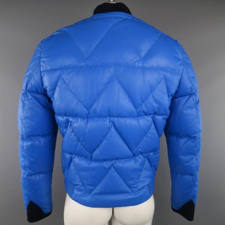 Men's KENZO L Blue Chevron Quilted Leather Bomber Jacket 7