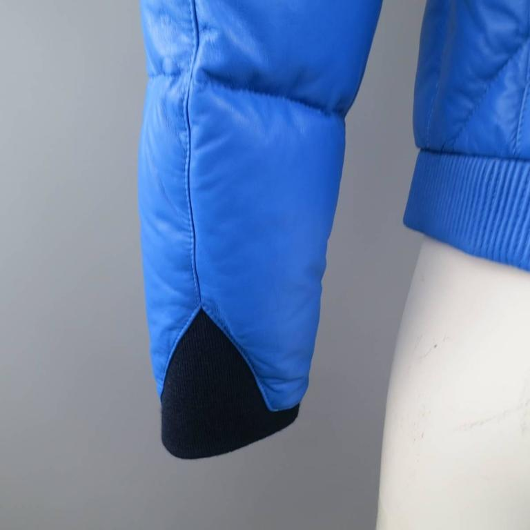 Men's KENZO L Blue Chevron Quilted Leather Bomber Jacket 8