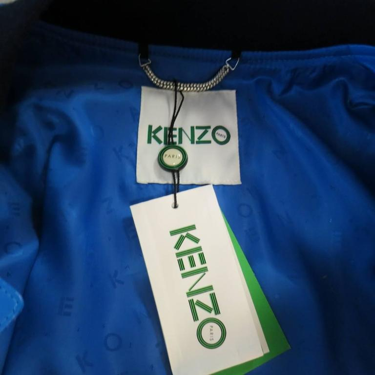 Men's KENZO L Blue Chevron Quilted Leather Bomber Jacket 10