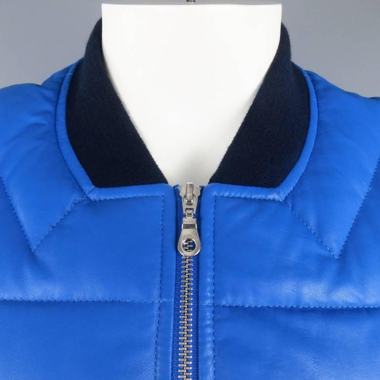 Men's KENZO L Blue Chevron Quilted Leather Bomber Jacket 2