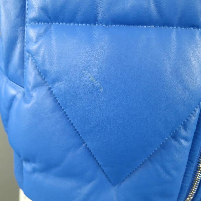 Men's KENZO L Blue Chevron Quilted Leather Bomber Jacket 4