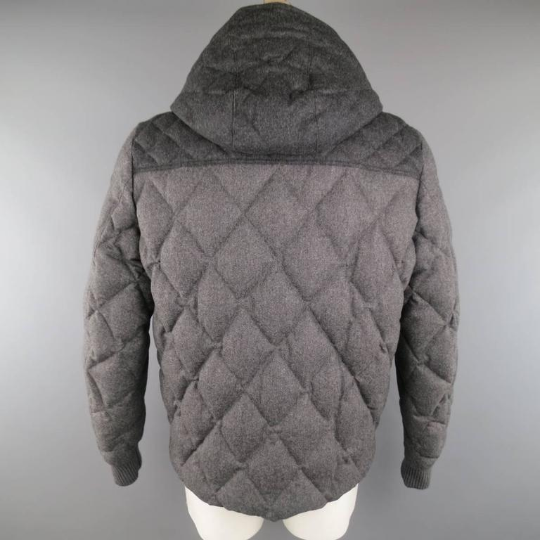 Men S Moncler Xxl Two Tone Gray Quilted Wool Detachable