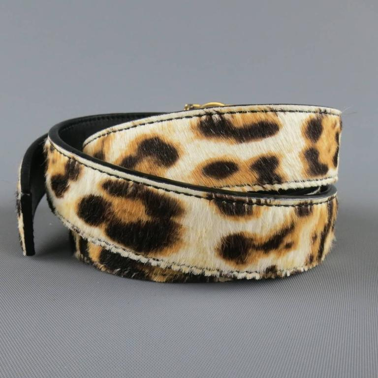 YVES SAINT LAURENT Size 40 Leopard Cheetah Pony Hair Gold Buckle Belt 5