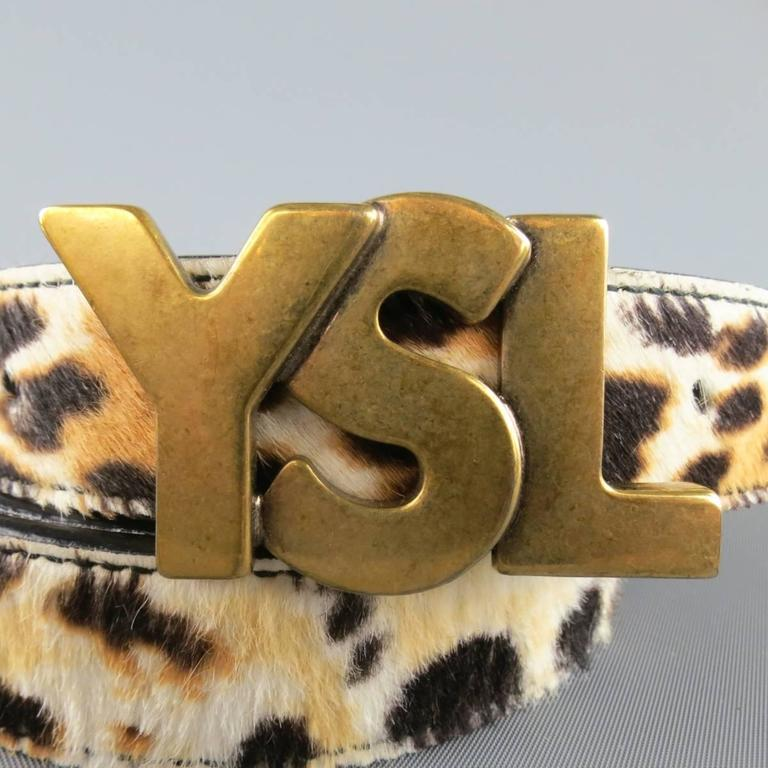 YVES SAINT LAURENT Size 40 Leopard Cheetah Pony Hair Gold Buckle Belt 2
