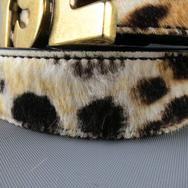 YVES SAINT LAURENT Size 40 Leopard Cheetah Pony Hair Gold Buckle Belt 3
