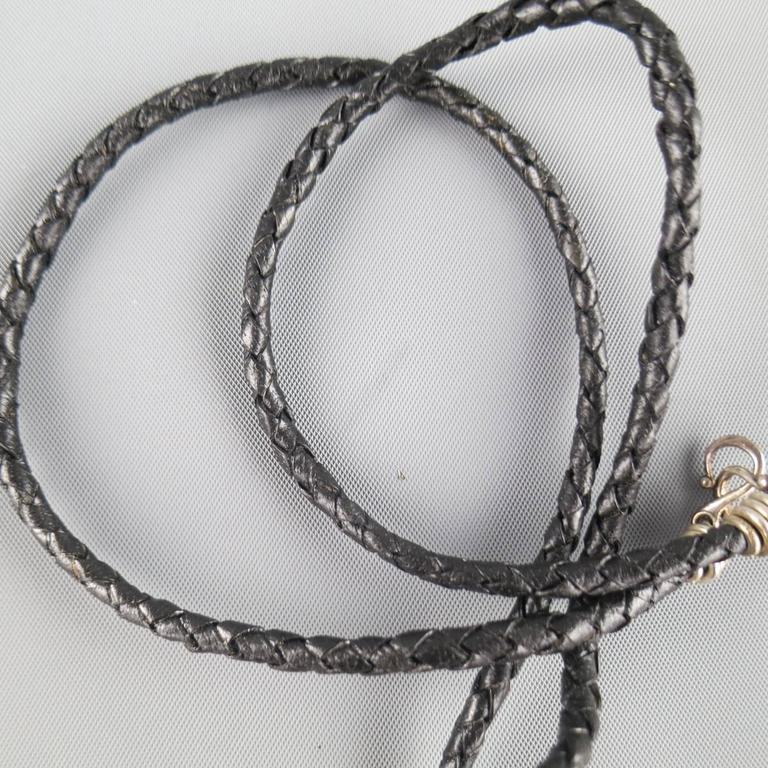 ROYAL UNDERGROUND Sterling Silver Lion Black Leather Necklace 5