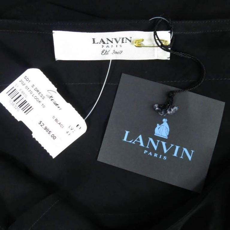 LANVIN Size 8 Black Silk Tiered Ruffle Draped Tie Flounced Cocktail Dress 2007 For Sale 2