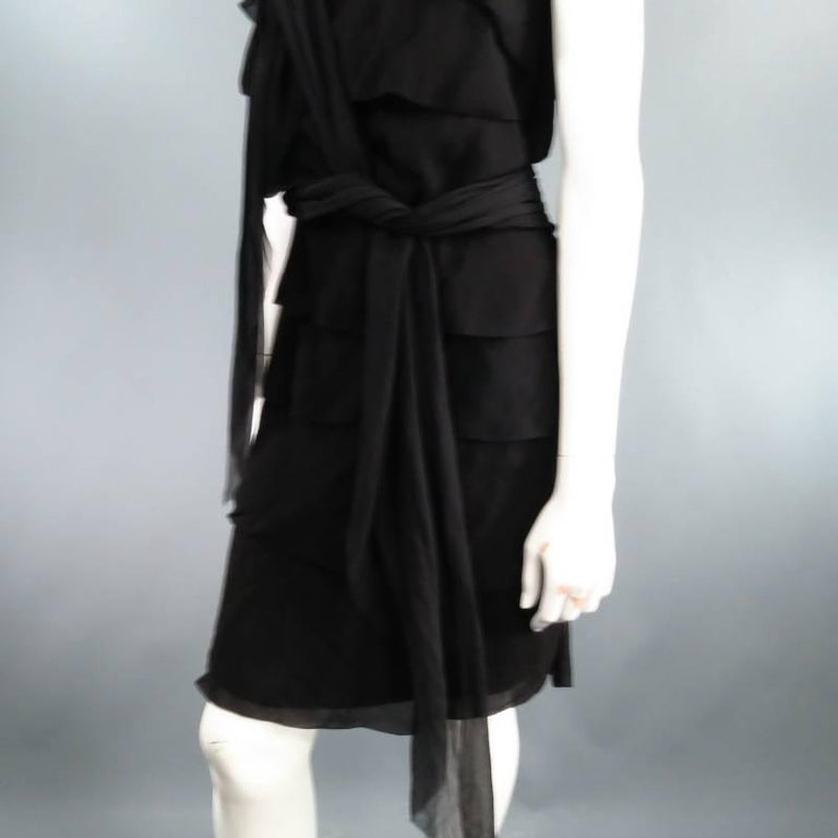 LANVIN Size 8 Black Silk Tiered Ruffle Draped Tie Flounced Cocktail Dress 2007 In Excellent Condition For Sale In San Francisco, CA