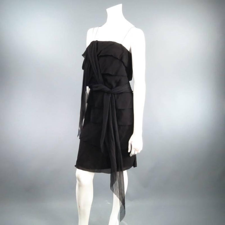 Women's LANVIN Size 8 Black Silk Tiered Ruffle Draped Tie Flounced Cocktail Dress 2007 For Sale