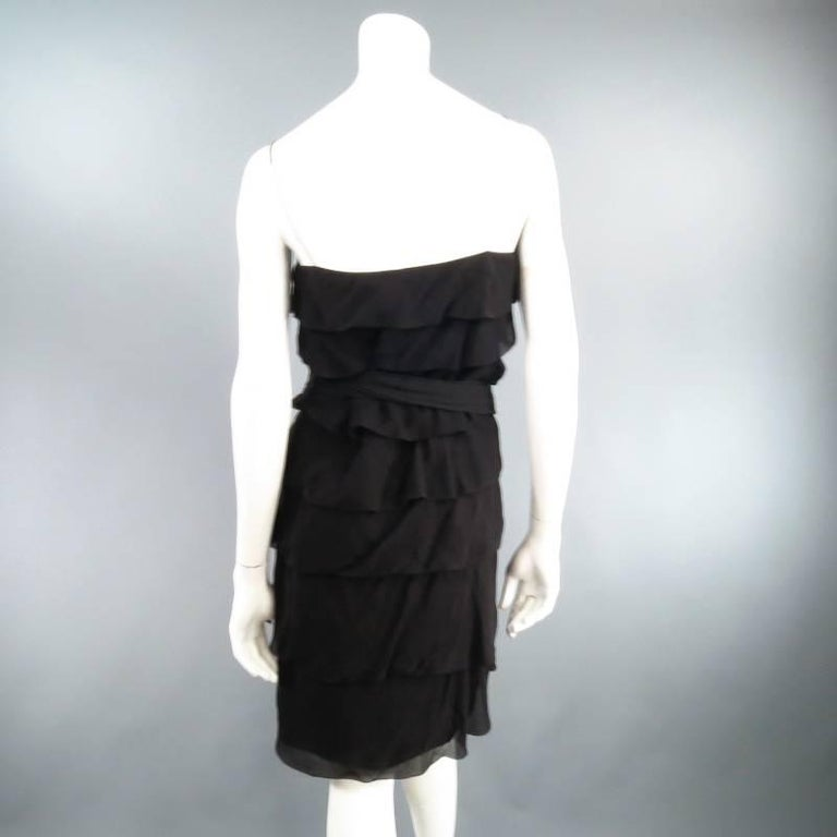 LANVIN Size 8 Black Silk Tiered Ruffle Draped Tie Flounced Cocktail Dress 2007 For Sale 1