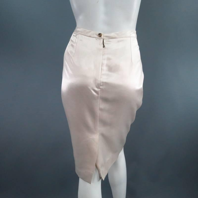 c5b6cd8a32 LANVIN Skirt - Size 8 Cream Satin Pencil Skirt For Sale at 1stdibs