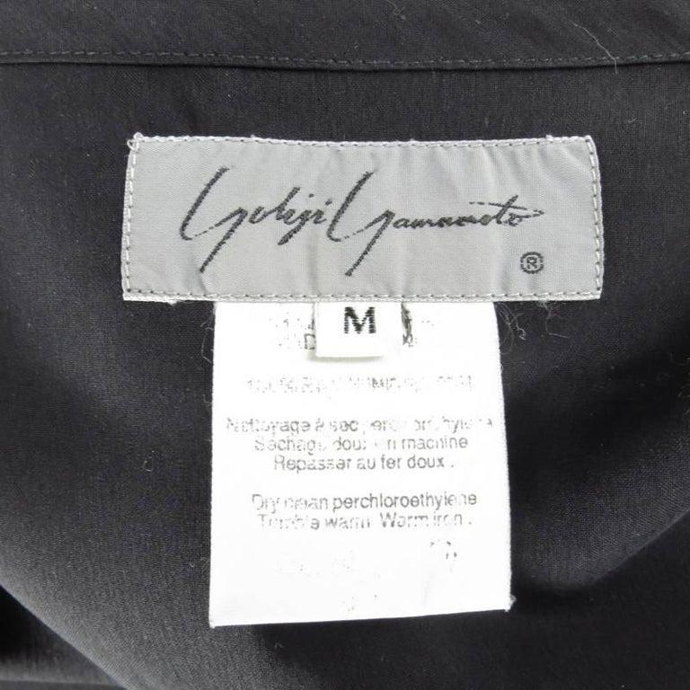 YOHJI YAMAMOTO Size M Black Cropped Ramie Blouse For Sale 2