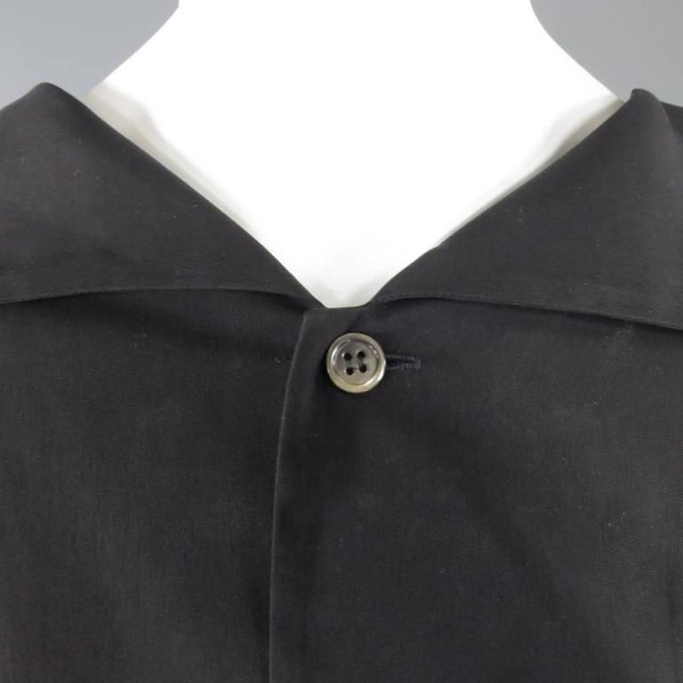 YOHJI YAMAMOTO Size M Black Cropped Ramie Blouse In Excellent Condition For Sale In San Francisco, CA