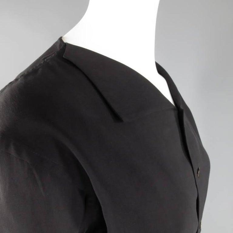 Women's YOHJI YAMAMOTO Size M Black Cropped Ramie Blouse For Sale