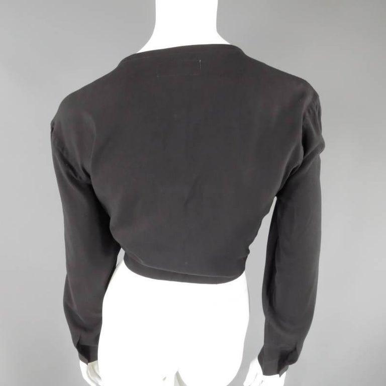 YOHJI YAMAMOTO Size M Black Cropped Ramie Blouse For Sale 1