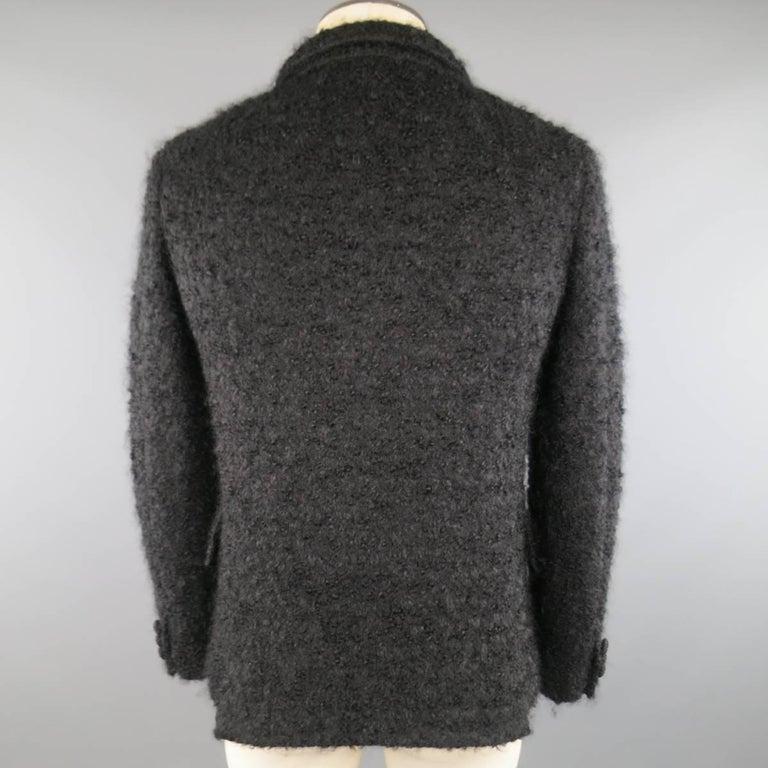 Men's COMME des GARCONS HOMME PLUS XS Black Fuzzy Textured Mohair / Wool Jacket For Sale 4