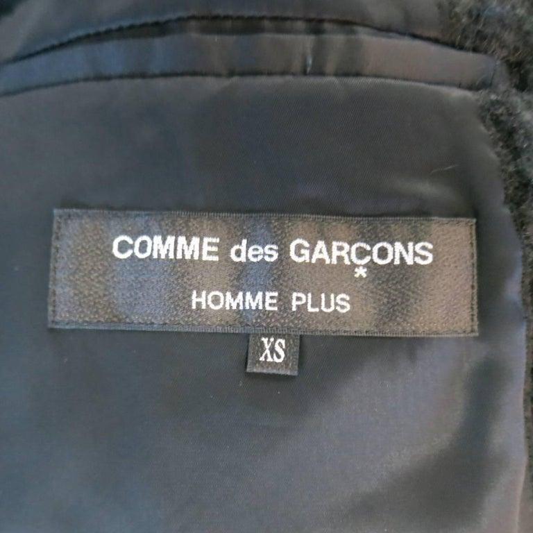 Men's COMME des GARCONS HOMME PLUS XS Black Fuzzy Textured Mohair / Wool Jacket For Sale 5