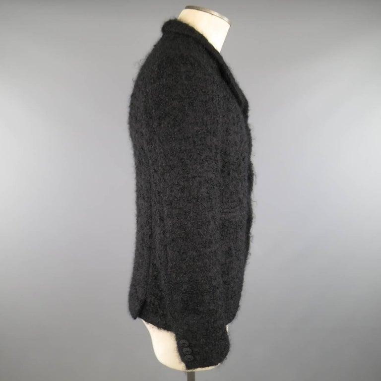 Men's COMME des GARCONS HOMME PLUS XS Black Fuzzy Textured Mohair / Wool Jacket For Sale 2
