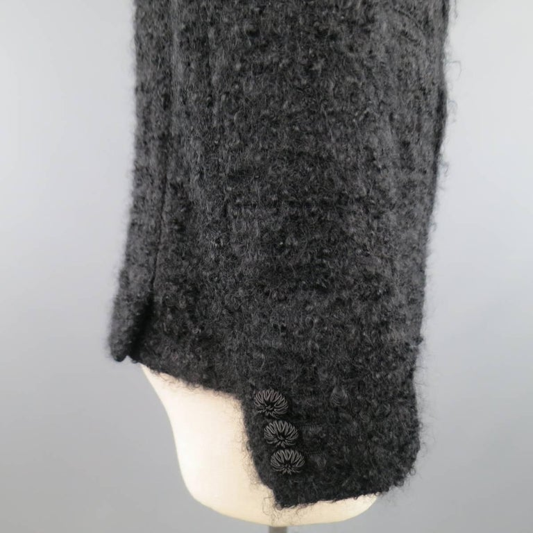 Men's COMME des GARCONS HOMME PLUS XS Black Fuzzy Textured Mohair / Wool Jacket For Sale 3