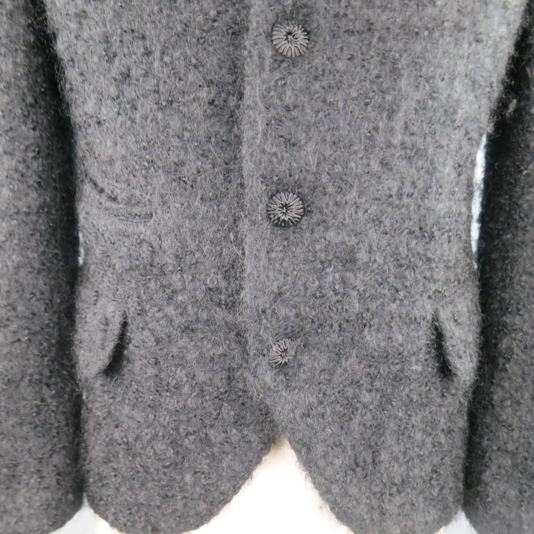 Men's COMME des GARCONS HOMME PLUS XS Black Fuzzy Textured Mohair / Wool Jacket In Good Condition For Sale In San Francisco, CA