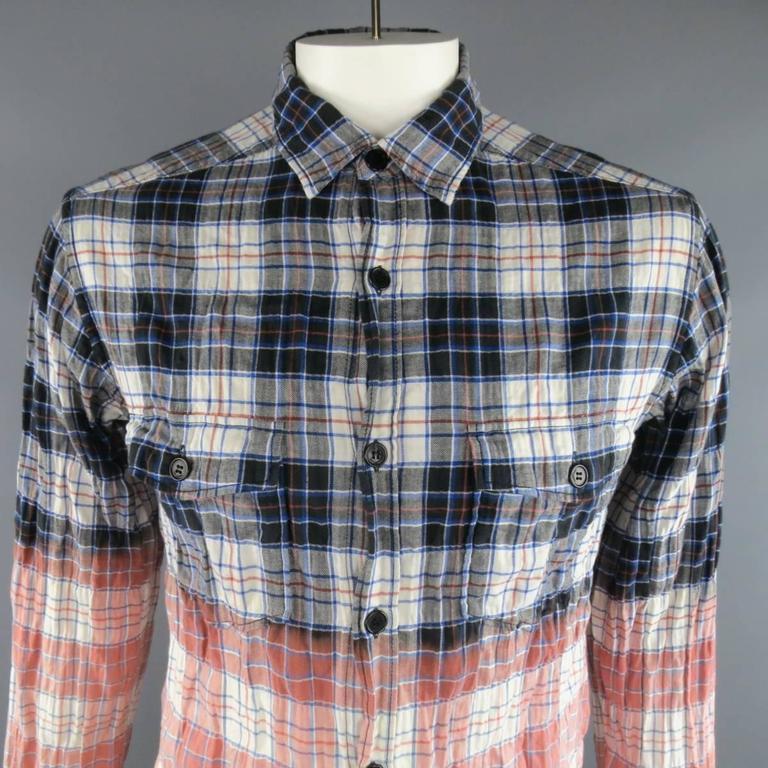92ce2c4a18 SAINT LAURENT Size L Navy & Red Bleached Plaid Destroyed Degrade Flannel  Shirt