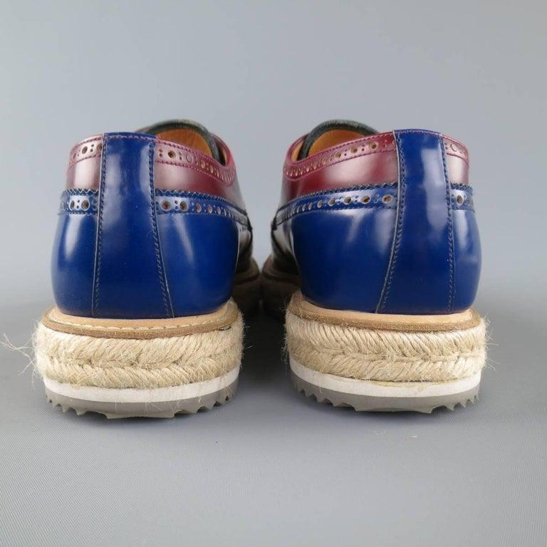 Men's PRADA Size 9.5 Multi-Color Wingtip Platform Espadrille Brogues Spring 2011 For Sale 2