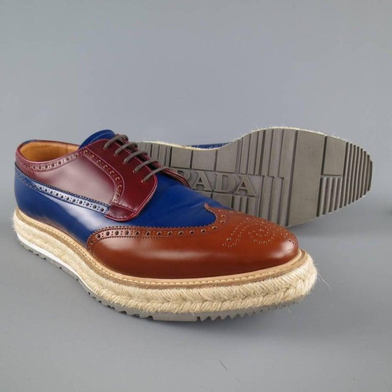 Men's PRADA Size 9.5 Multi-Color Wingtip Platform Espadrille Brogues Spring 2011 For Sale 1