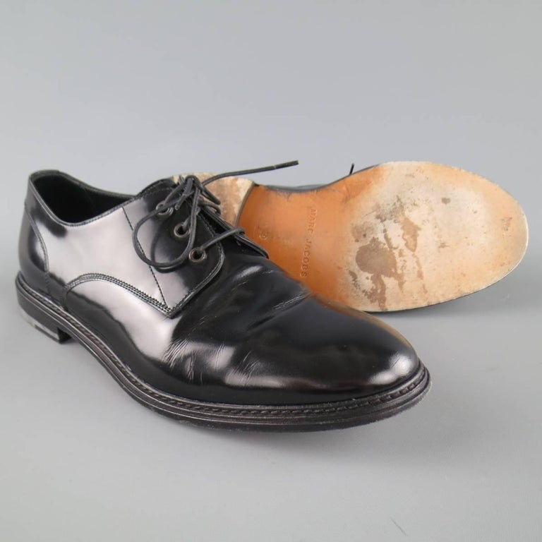 Men's MARC JACOBS Size 10 Black Patent Leather Lace Up Derbys In Good Condition For Sale In San Francisco, CA