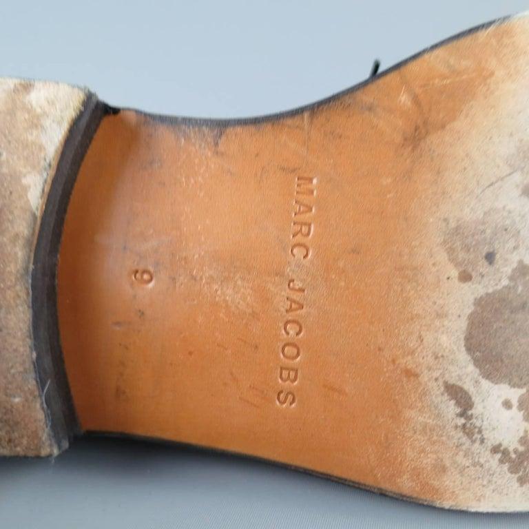 Men's MARC JACOBS Size 10 Black Patent Leather Lace Up Derbys For Sale 4