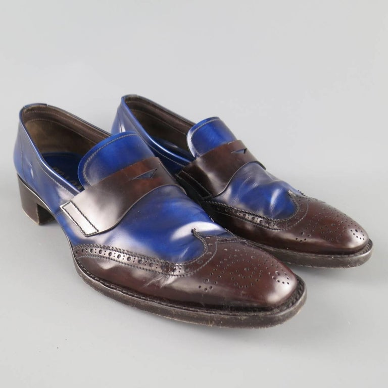 Men's PRADA Size 11 Blue and Brown Two Tone Leather Penny ...