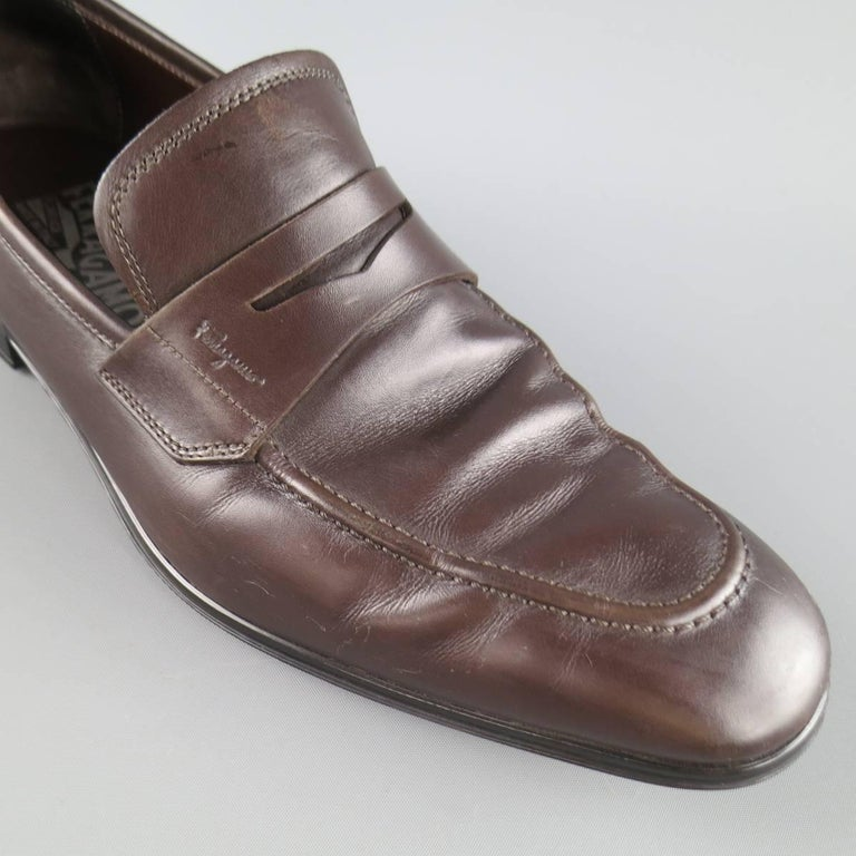 Men's SALVATORE FERRAGAMO Size 8.5 Brown Leather Penny Loafers 2