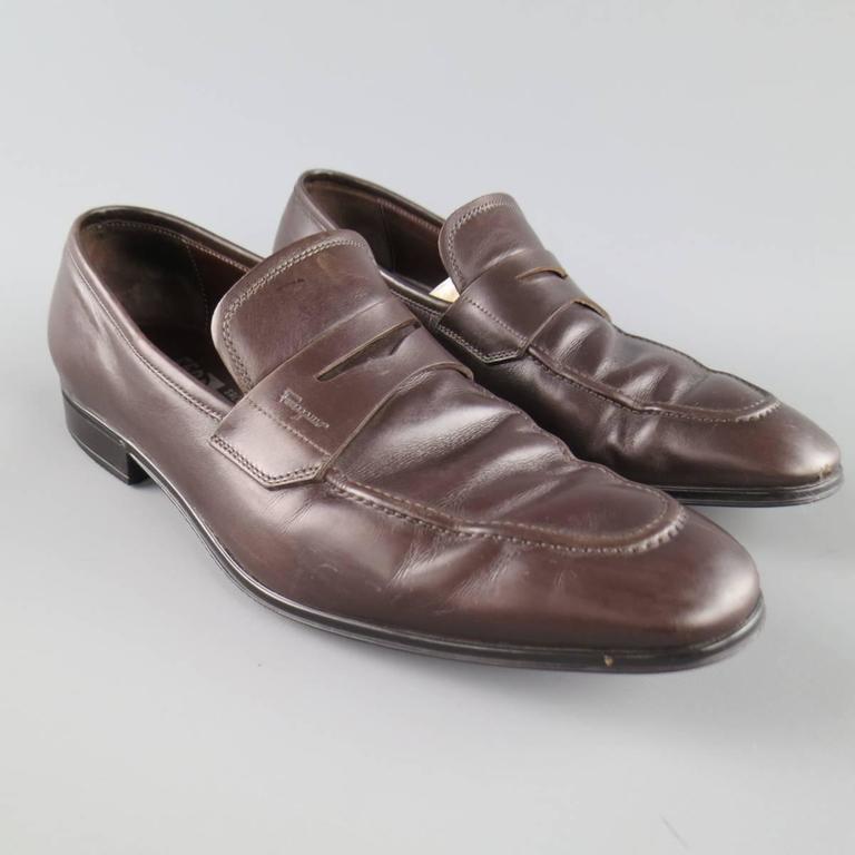 8f595a7a654e Gray Men s SALVATORE FERRAGAMO Size 8.5 Brown Leather Penny Loafers For Sale