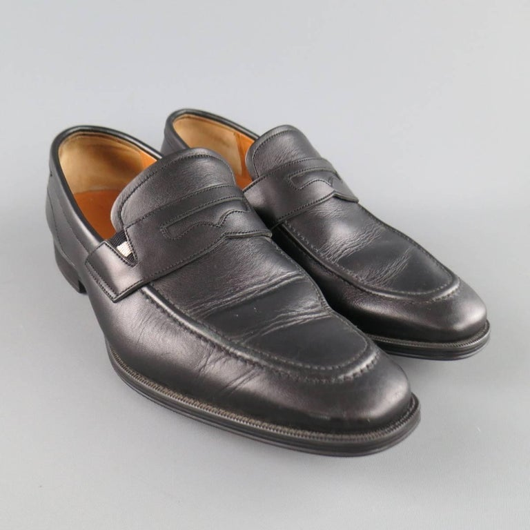 Men's BALLY Size 7.5 Black Leather Penny Loafers For Sale ...