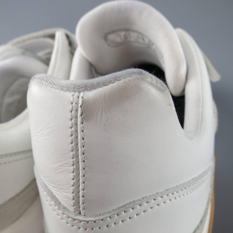 Men's DIOR HOMME Size 11 White Leather & Suede Gum Sole Velcro Sneakers 6