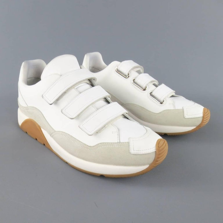 Men's DIOR HOMME Size 11 White Leather & Suede Gum Sole Velcro Sneakers In Good Condition For Sale In San Francisco, CA