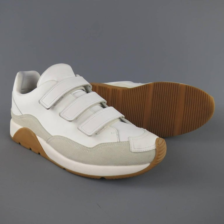 Men's DIOR HOMME Size 11 White Leather & Suede Gum Sole Velcro Sneakers For Sale 1
