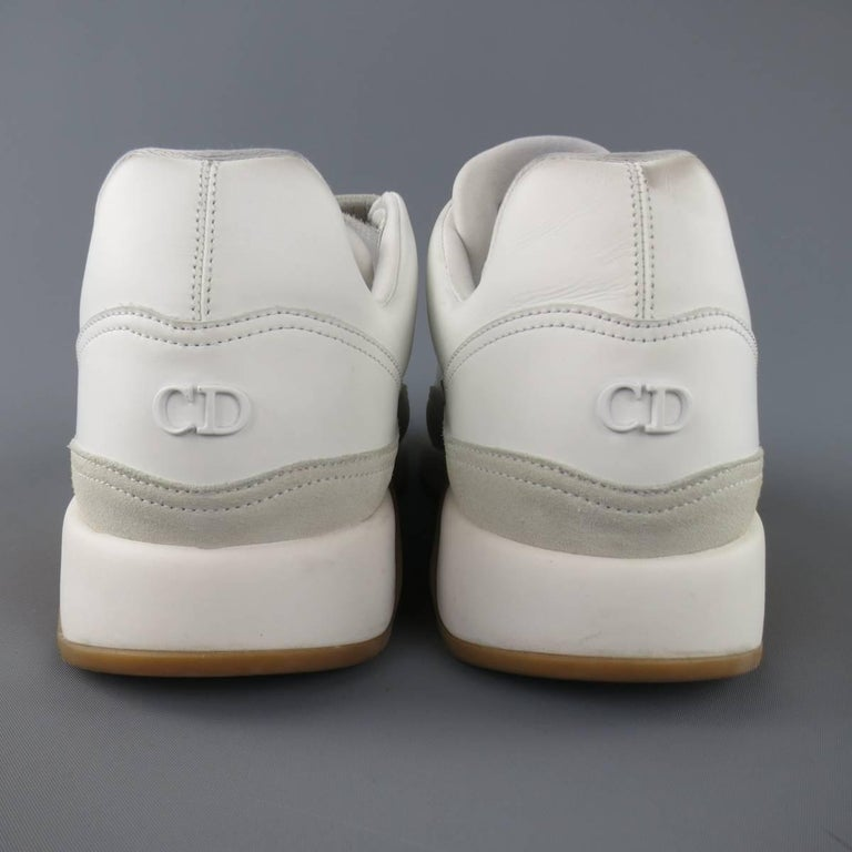 Men's DIOR HOMME Size 11 White Leather & Suede Gum Sole Velcro Sneakers For Sale 2