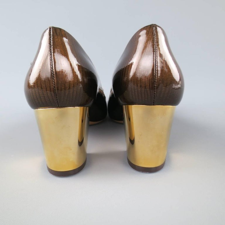SALVATORE FERRAGAMO Size 9 Brown Lizard Patent Leather Gold Heel Bow Pumps 5