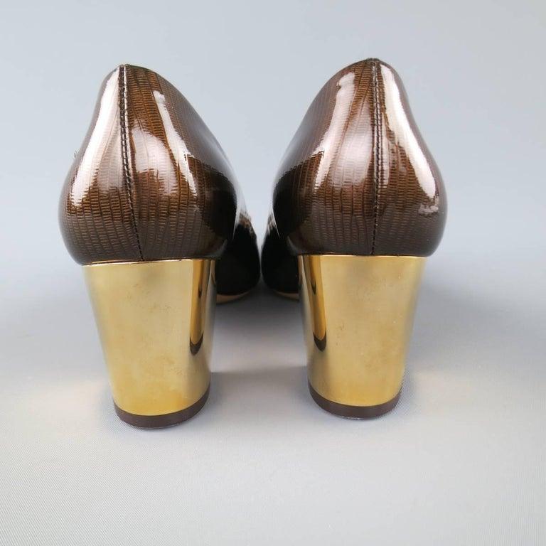 Women's SALVATORE FERRAGAMO Size 9 Brown Lizard Patent Leather Gold Heel Bow Pumps For Sale