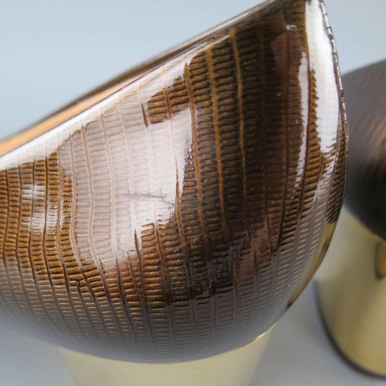 SALVATORE FERRAGAMO Size 9 Brown Lizard Patent Leather Gold Heel Bow Pumps For Sale 1