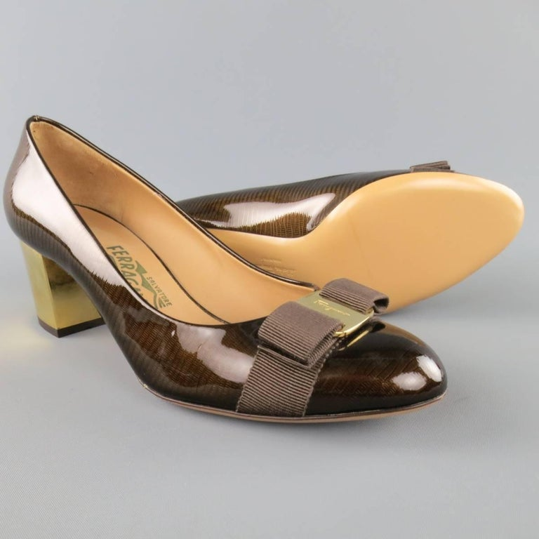 Black SALVATORE FERRAGAMO Size 9 Brown Lizard Patent Leather Gold Heel Bow Pumps For Sale