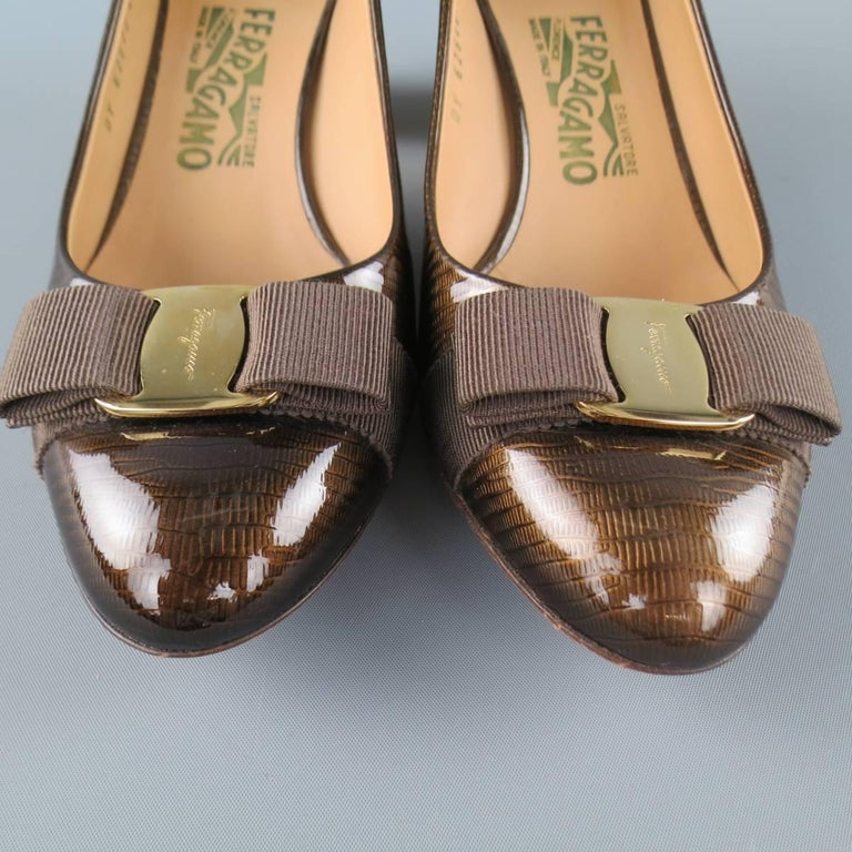 SALVATORE FERRAGAMO Size 9 Brown Lizard Patent Leather Gold Heel Bow Pumps 4