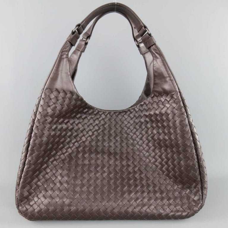 BOTTEGA VENETA Brown Woven Intrecciato Leather Campana Hobo Bag 4
