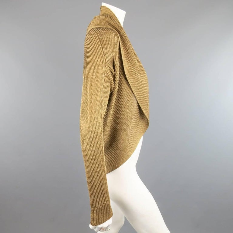 RALPH LAUREN Size L Metallic Gold Silk Blend Draped Bolero Cardigan 2