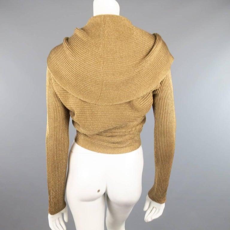Brown RALPH LAUREN Size L Metallic Gold Silk Blend Draped Bolero Cardigan For Sale