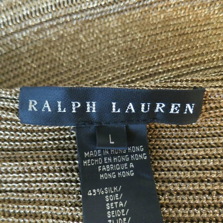 RALPH LAUREN Size L Metallic Gold Silk Blend Draped Bolero Cardigan 5