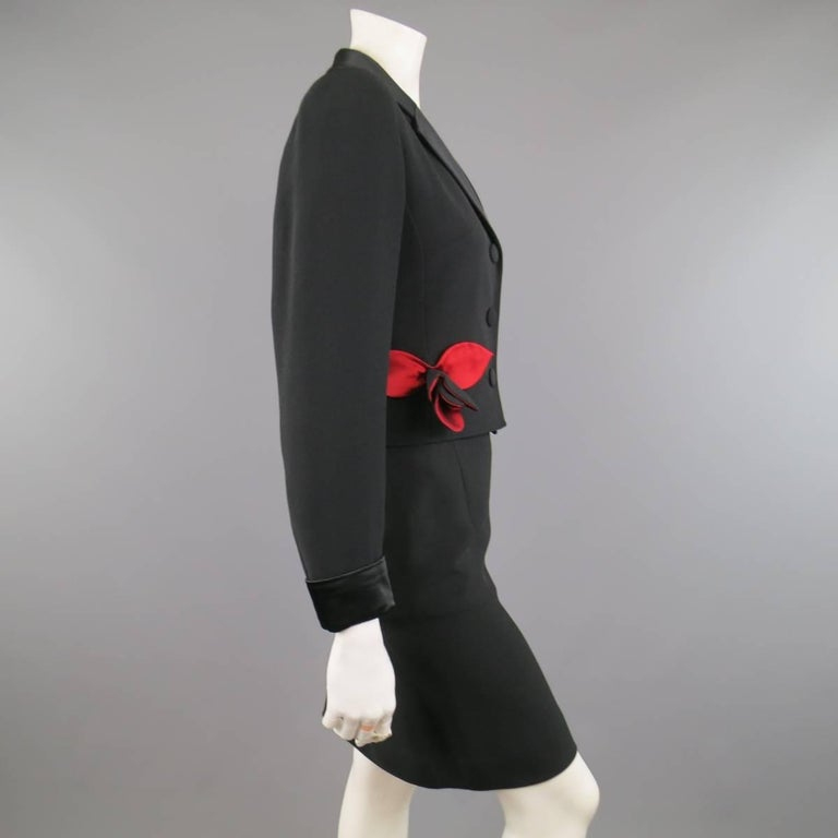 Vintage MOSCHINO Cheap & Chic 8 Black & Red Roses Skirt Suit 5