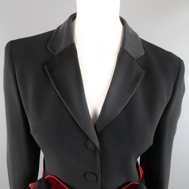 Vintage MOSCHINO Cheap & Chic 8 Black & Red Roses Skirt Suit 3