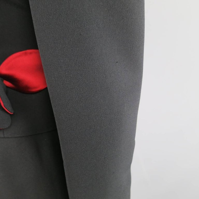 Vintage MOSCHINO Cheap & Chic 8 Black & Red Roses Skirt Suit 6