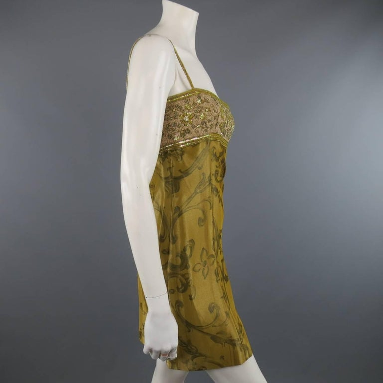 ESCADA COUTURE Size 10 Metallic Gold Brocade Sequin Bust Cocktail Dress 5